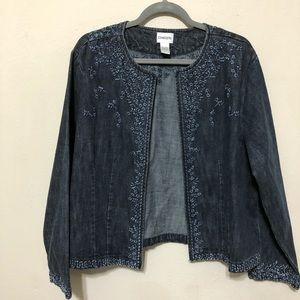 Chico's Denim Floral Embroidery Jacket Sz 3 or XL
